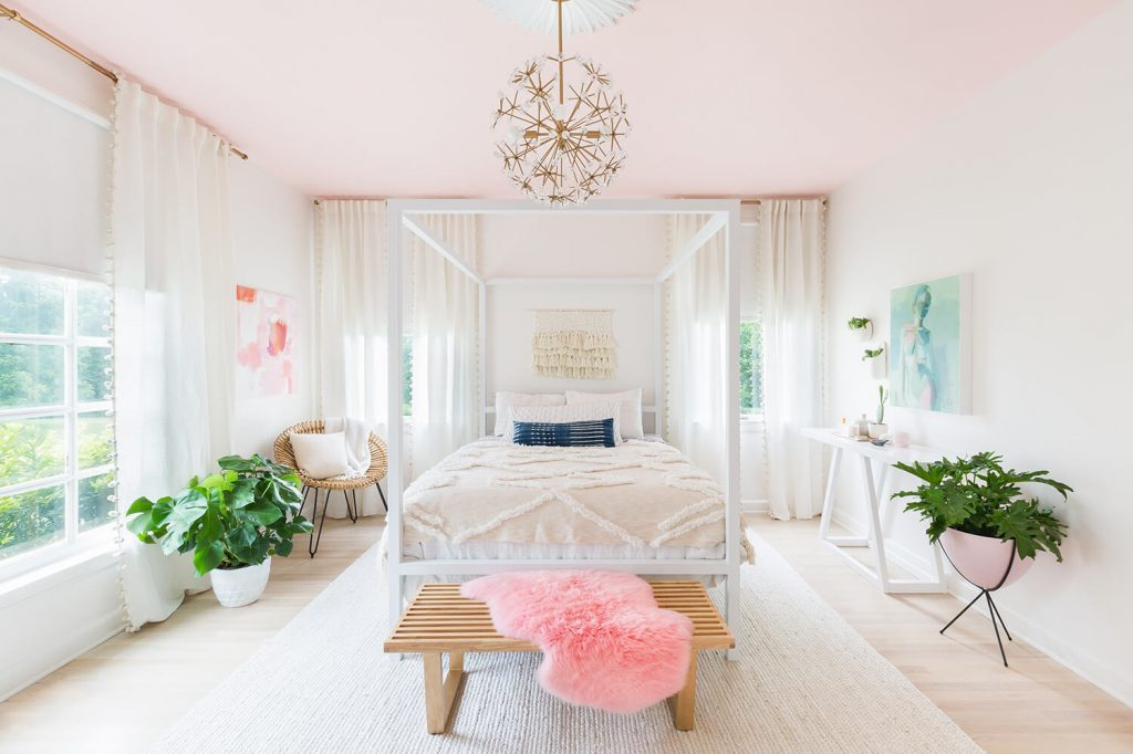Valspar Baby Blush pink walls from A Beautiful Mess