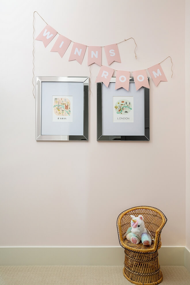 Behr My Sweetheart wall with pendants for little girl's room