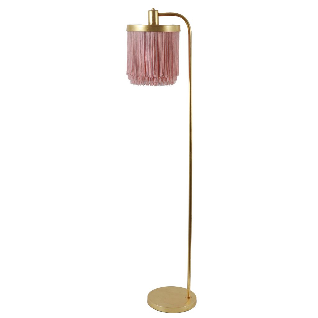gold floor lamp with pink fringe