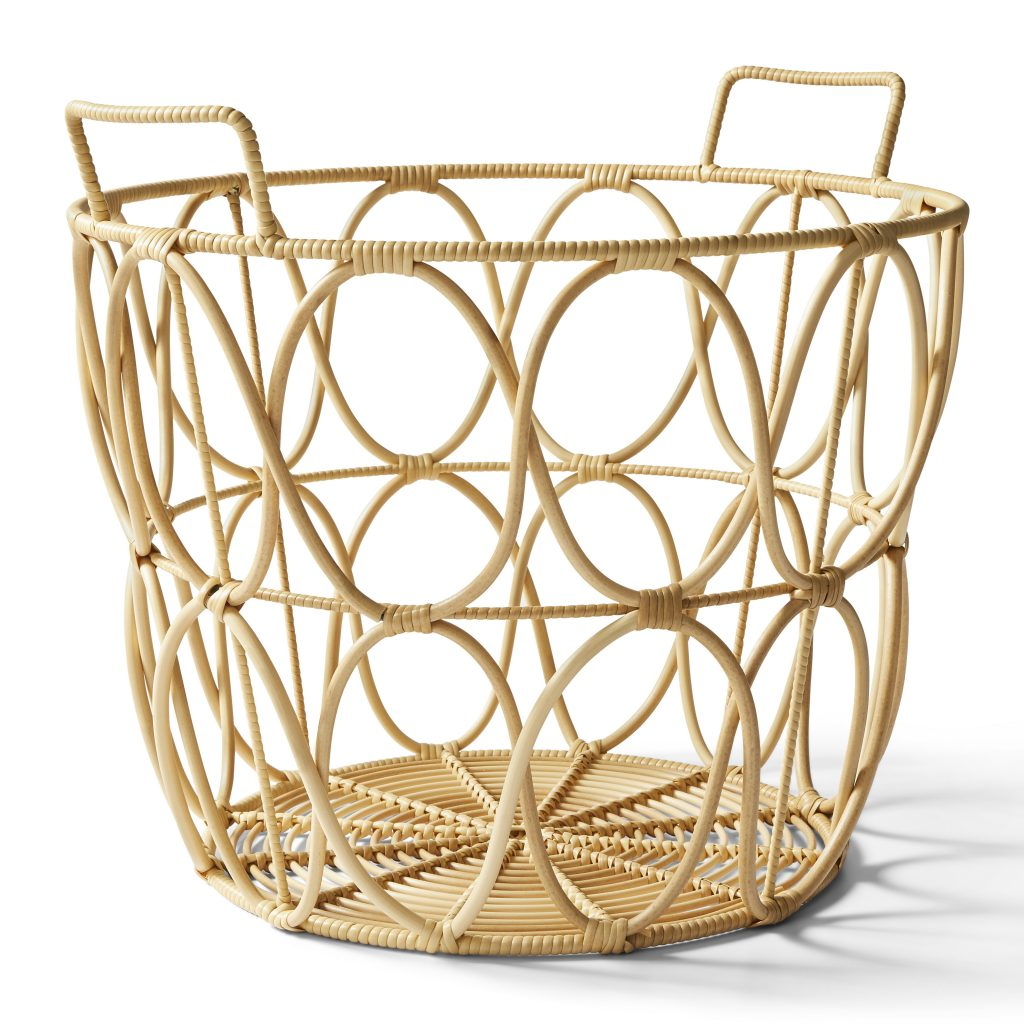 rattan boho storage basket