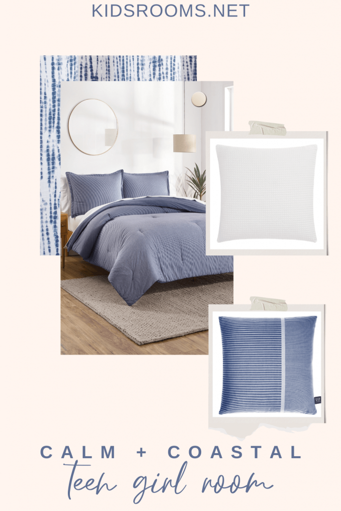 Blue and white bedroom mood board design from Gap home from Walmart collection