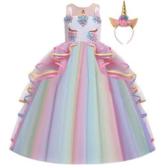 Girls Unicorn Costume Princess Long Maxi Tulle Dress w/Headband