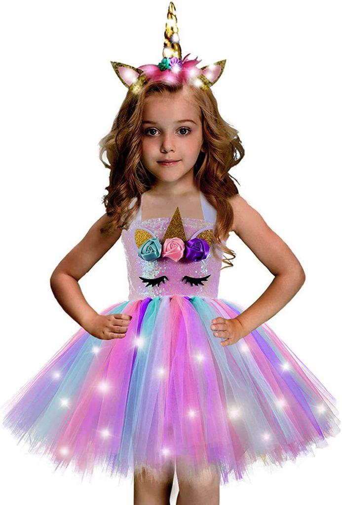 Unicorn Dress for Girls Unicorn Costume Rainbow Tutu Light Up Dress