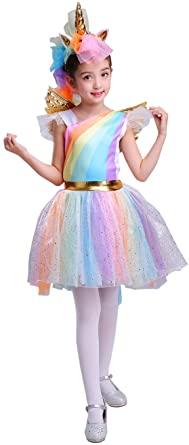 SEASONS DIRECT Halloween Girl's Rainbow Unicorn Costume With Wing and Headband