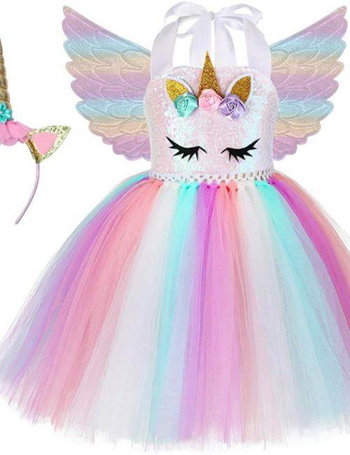 Soyoekbt Unicorn Costume for Girls Birthday Gifts Kids Unicorn Tutu Dress with Headband