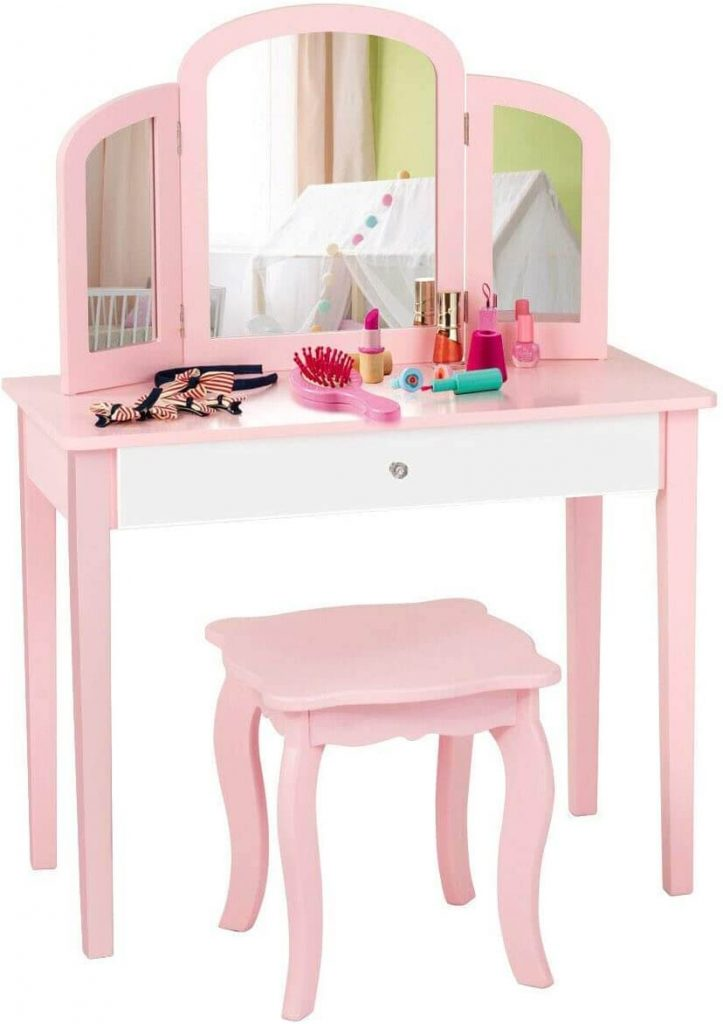 pink and white vanity from Amazon