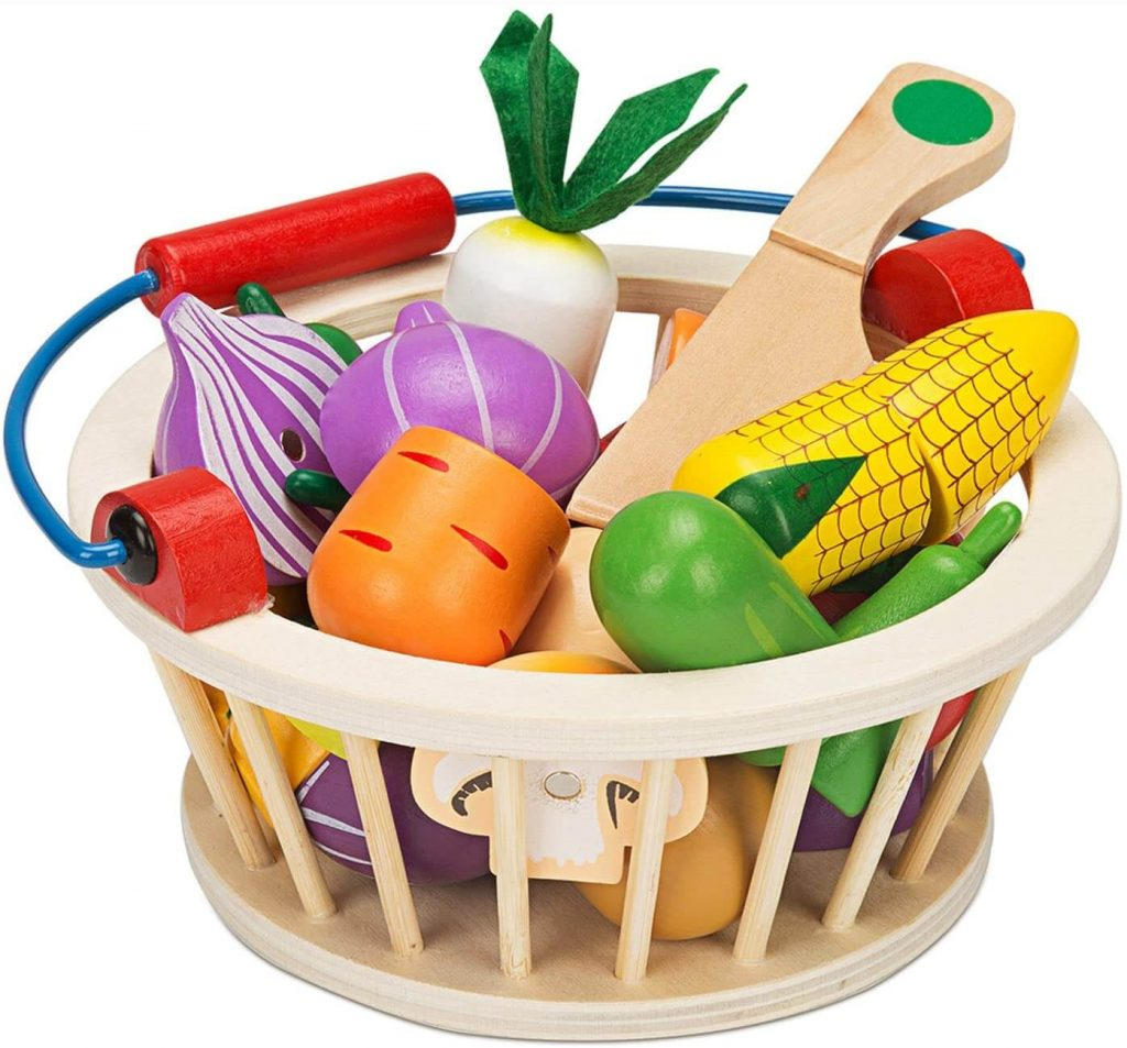 Magnetic Wooden Cutting Fruits Vegetables Food Play Toy Set with Basket for Kids