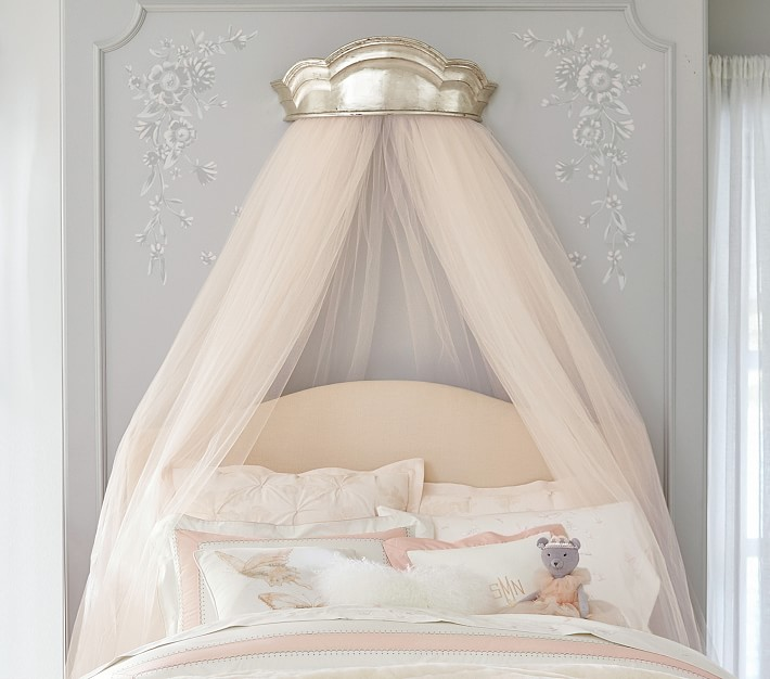 wall crown with pink tulle over bed from Pottery Barn Kids