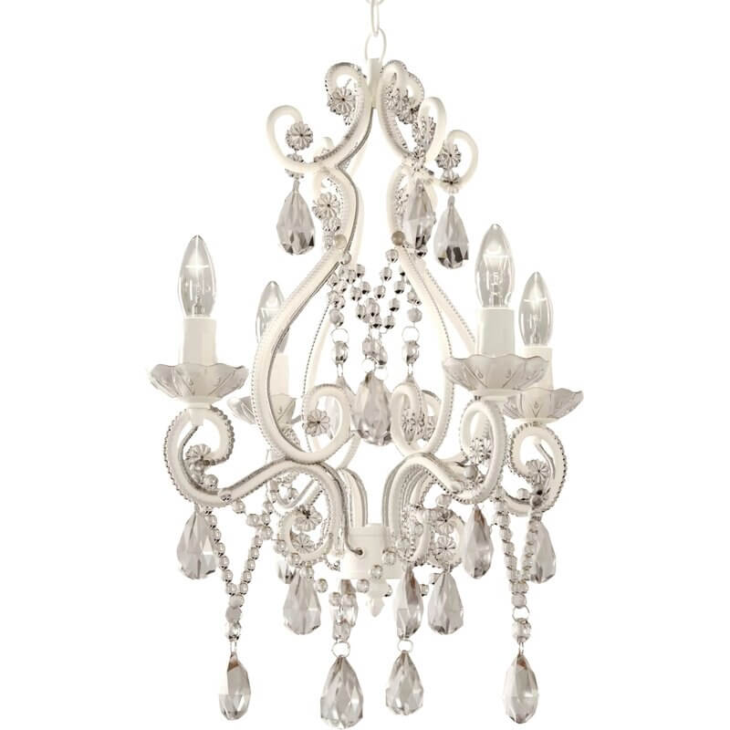 white chandelier with crystal beads hanging from it on white background