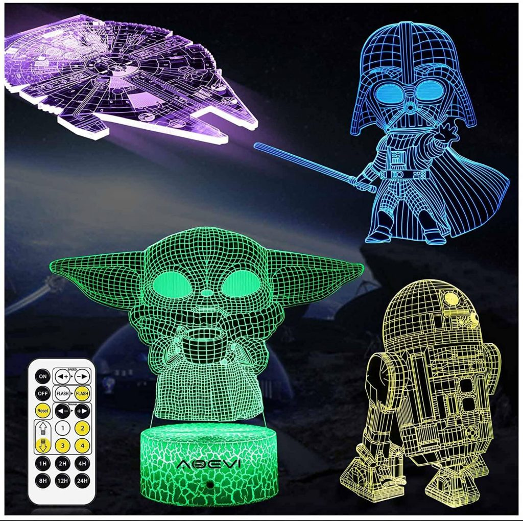 3D lights of baby Yoda, R2-D2 and other Star Wars characters