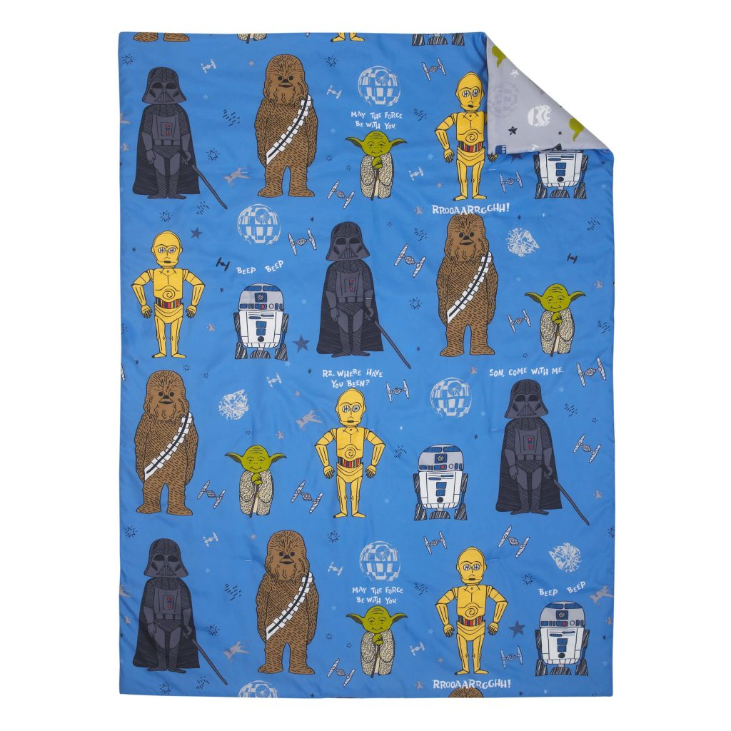 Star wars blue blanket with characters on it