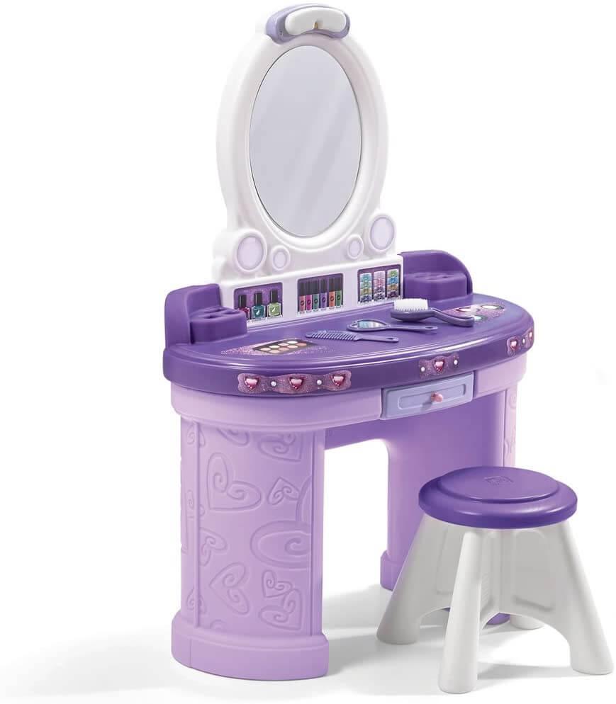 purple and white toddler vanity set