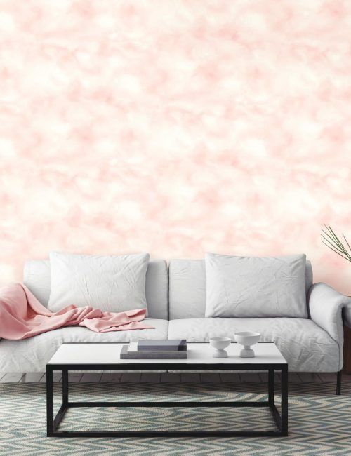 pink tie dye wallpaper from Target behind a gray couch