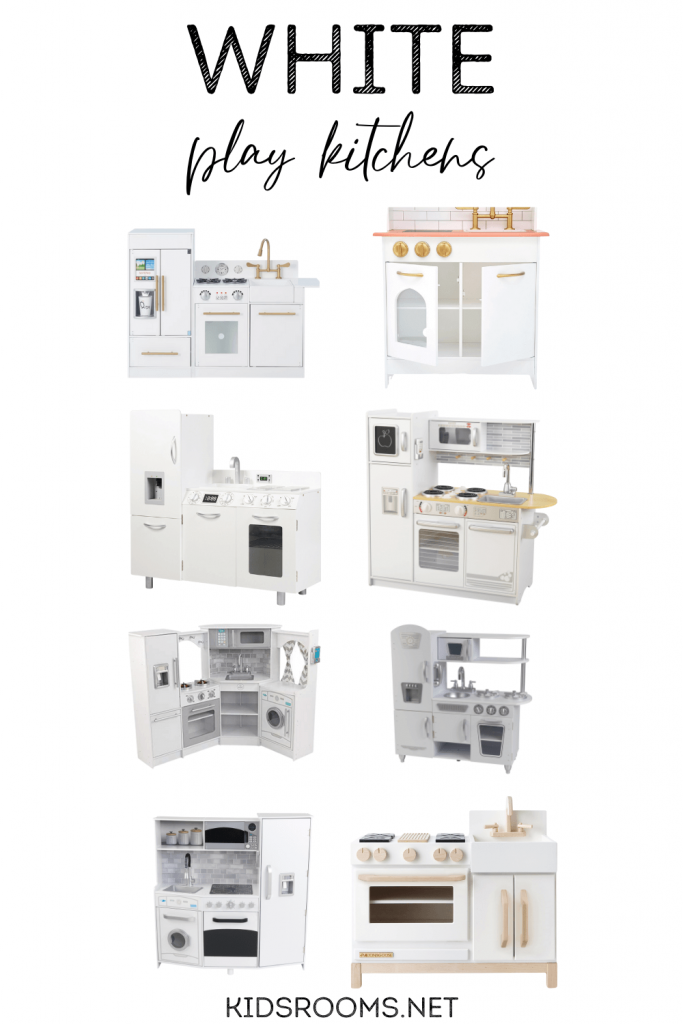 white play kitchens graphic with 8 play kitchens