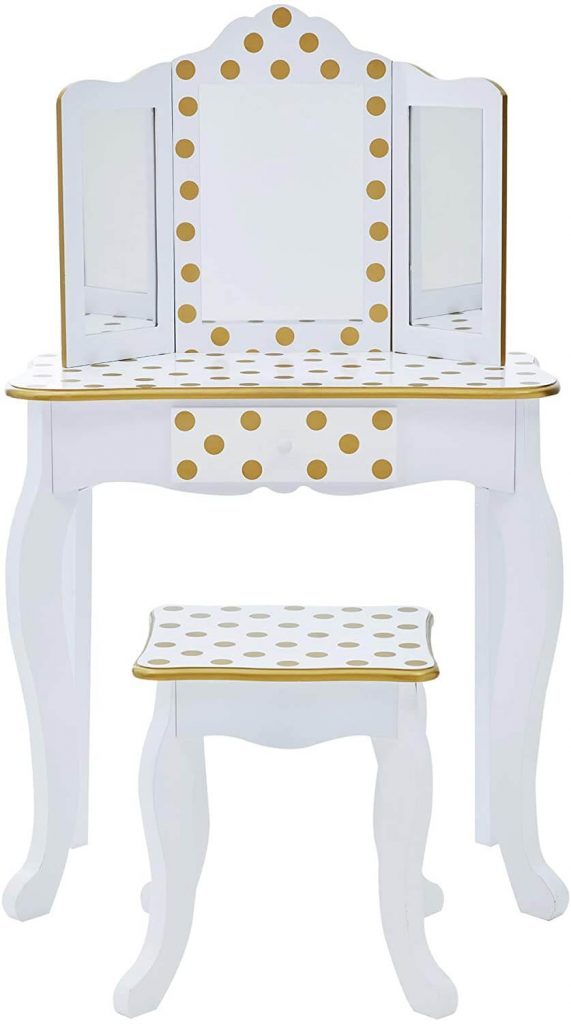 white vanity with gold polka dots and stool for toddlers