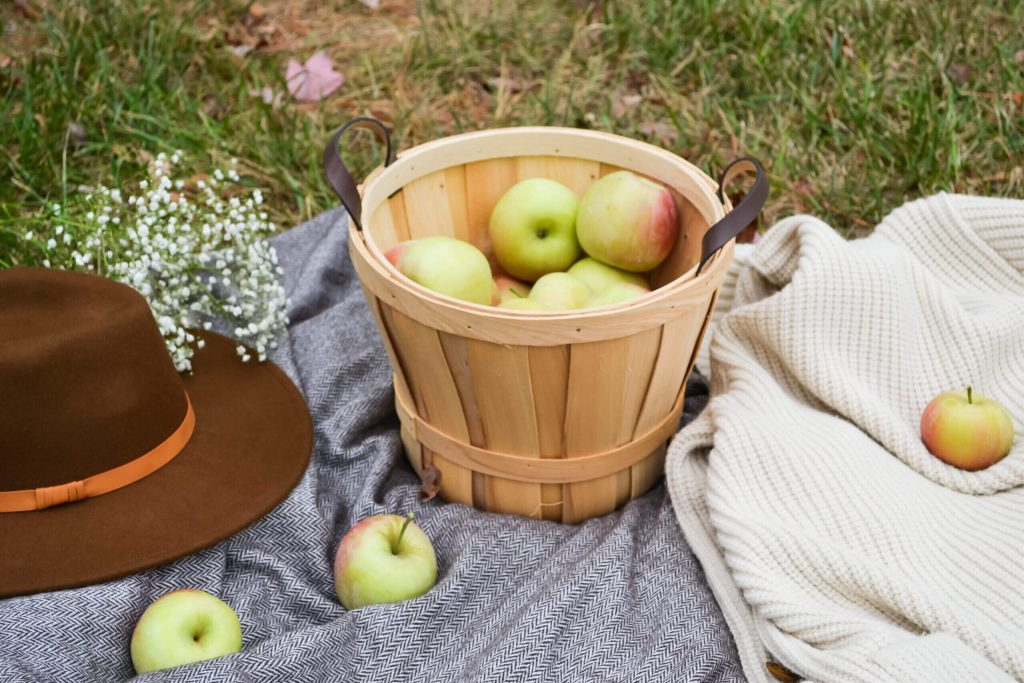 basket of apples on a gray blanket and a bucket hat next to it